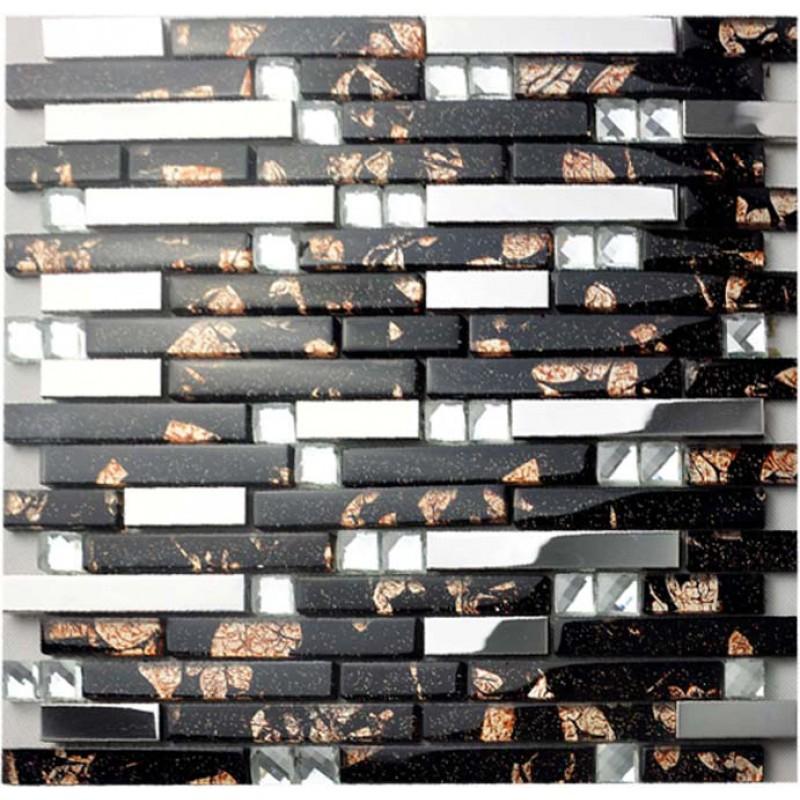 Glass and metal backsplash tiles for kitchen and bathroom for Cheap tin backsplash