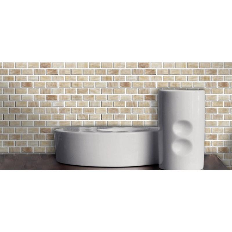 Stone Mosaic Subway Tile fireplace Wall border Bathroom Floor ...