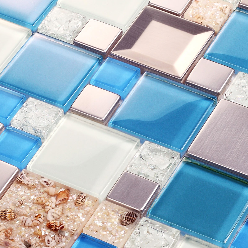 Blue Glass Mosaic Tiles Crackle Glass Tile Kitchen Wall Tv Wall Backsplash Mosaic Tile Resin Shell Tile