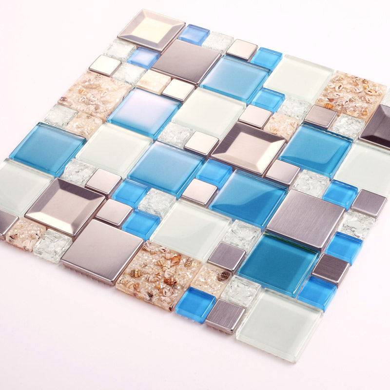 Blue Glass Mosaic Tiles Crackle Glass Tile Kitchen Wall TV Wall Backsplash  Mosaic Tile Resin Shell ...