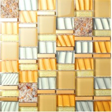 yellow crystal glass mosaic tile resin with conch tiles 304 stainless steel metal tile hall backsplashes tiles bedroom art design SBLT205