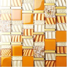 yellow crystal glass mosaic tile resin with conch tiles gold 304 stainless steel metal tile hall backsplashes tiles bedroom art design SBLT207
