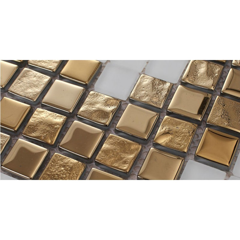 Golden glass mosaic tiles pattern for wall decorative tiles cream white crystal glass tile for Decorative wall tiles for bathroom