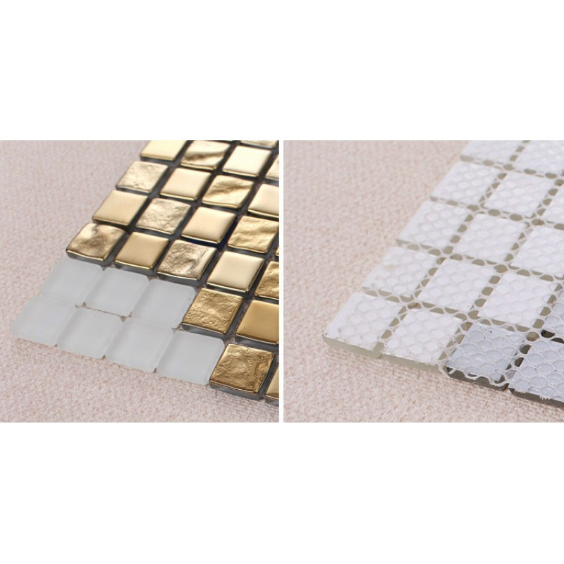 Golden Glass Mosaic Tiles Pattern for Wall Decorative Tiles Cream ...