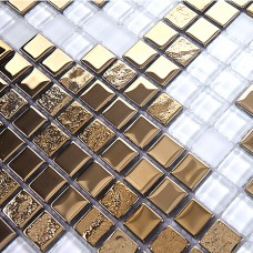 Gold and cream plating glass mosaic tile murals frosted crystal collages backsplash puzzle wall stickers decor TMF2132