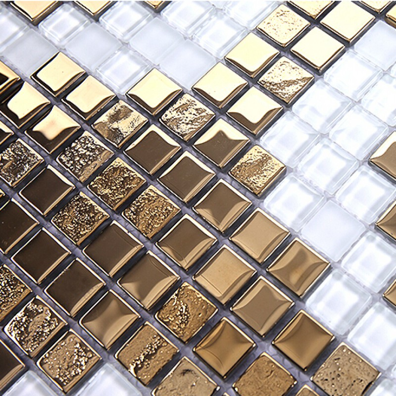 Gold And Cream Plating Gl Mosaic Tile Murals Frosted Crystal Collages Backsplash Puzzle Wall Stickers Decor