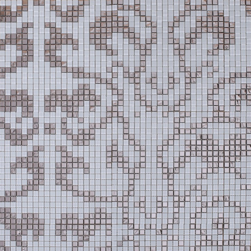 Frosted Glass Mosaic Tile Mural Plating Silver And Cream