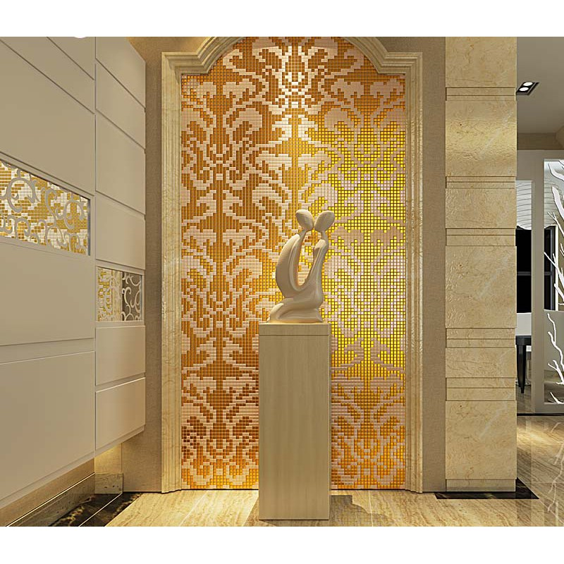 Gold And Cream Mirrored Gl Mosaic Tile Murals Frosted Crystal Collages Backsplash Mirror Puzzle Wall