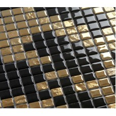 Gold and black plating glass mosaic tile murals frosted crystal collages backsplash puzzle wall stickers decor TMF2133
