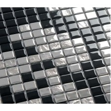 Silver and black plating glass mosaic tile murals frosted crystal collages backsplash puzzle wall stickers decor TMF2136