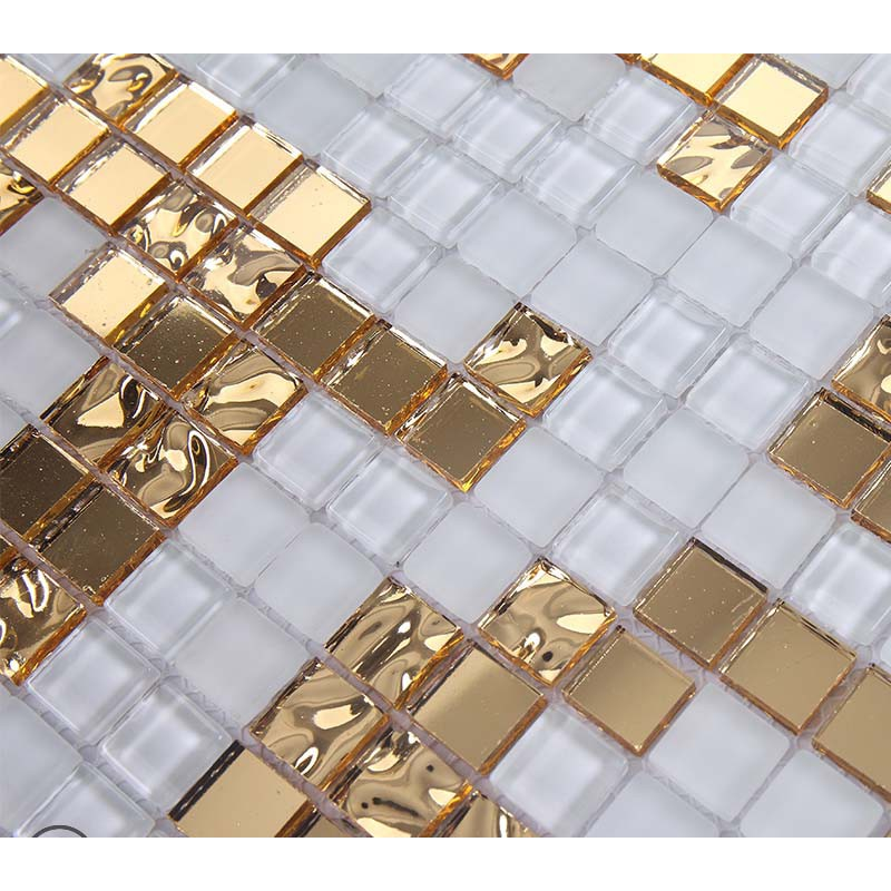 Gold and cream mirrored glass mosaic tile murals frosted for Mirror tiles
