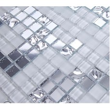 Silver and cream mirrored glass mosaic tile murals frosted crystal collages backsplash mirror tile puzzle wall stickers decor TMF2135
