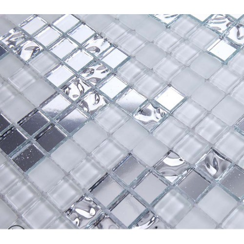 Silver And Cream Mirrored Gl Mosaic Tile Murals Frosted Crystal