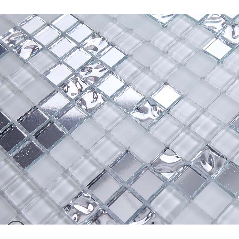 Silver and cream mirrored glass mosaic tile murals frosted