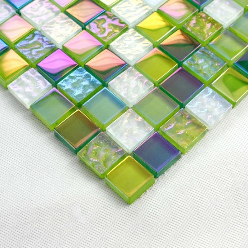 Green Gl Mosaic Tiles Sheet Crystal Tile Backsplash 2219 Iridescent Bathroom Wall Stickers