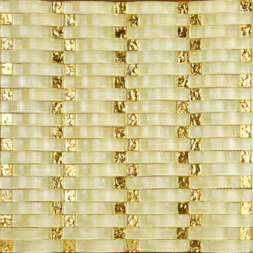 Hand Painted Wavy Mosaic Tile Sheets Bathroom Wall Tiles Crystal Glass Backsplash Small Golden Electroplating Glass Pattern 2335