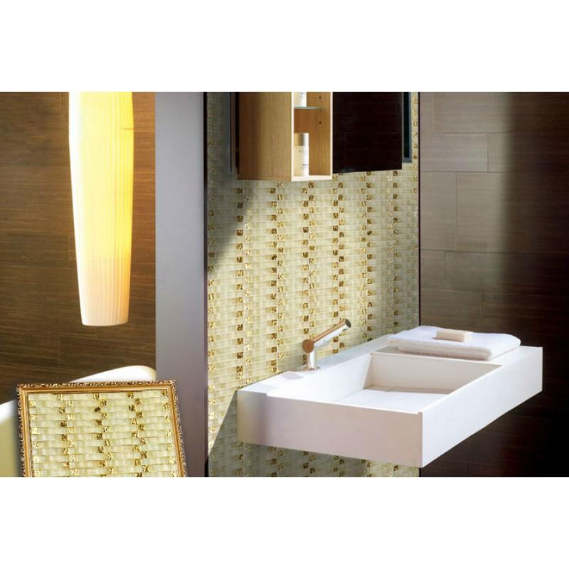 Hand Painted Wavy Mosaic Tile Sheets Bathroom Wall Tiles Crystal Glass  Backsplash Small Golden Electroplating Glass Pattern 2335
