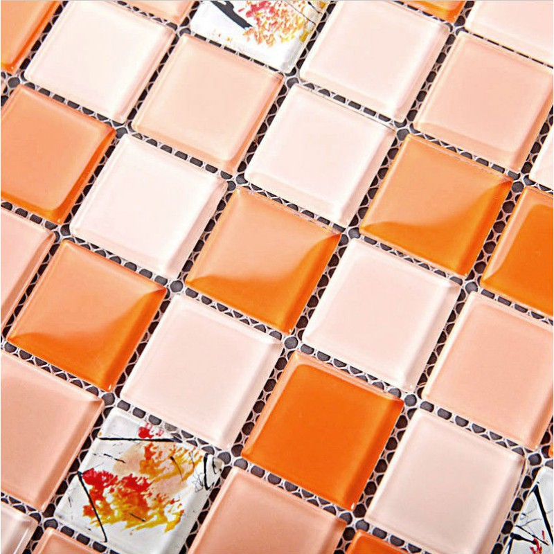 Orange Glass Mosaic Tile Sheets Crystal Backsplash Kitchen Wall Tile  Stickers Mosaics Pattern Design Bath Floor Tiles 2G4XX