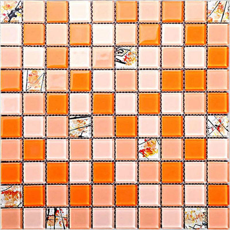 Kitchen Backsplash Orange glass mosaic tile sheets crystal backsplash kitchen wall tile