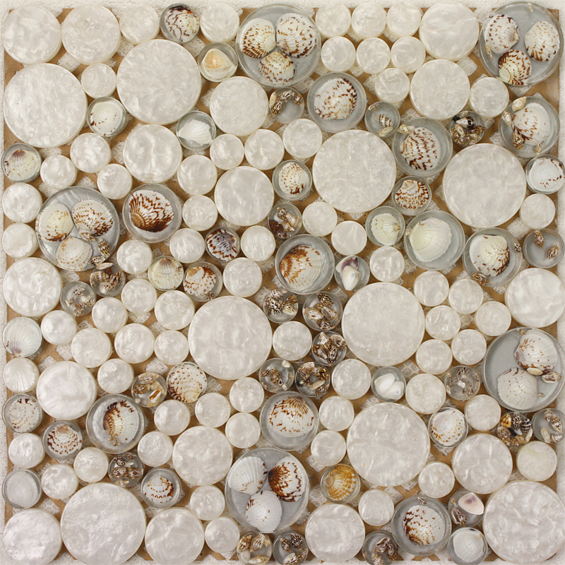 Penny Round Backsplash: Penny Round Glass Mosaic Tile Backsplash Ideas For Kitchen