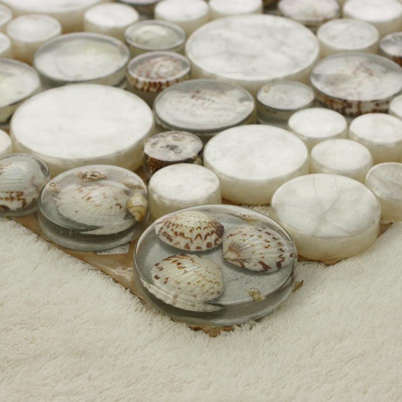 ... Penny Round Glass Mosaic Tile Backsplash Ideas For Kitchen Walls  Crystal Resin With Conch Tile Bathroom ...