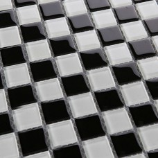 Black glass mosaic tile backsplash Bathroom wall tiles 3030 white Crystal glass mosaics Kitchen backsplashes Mosaic floor tiles