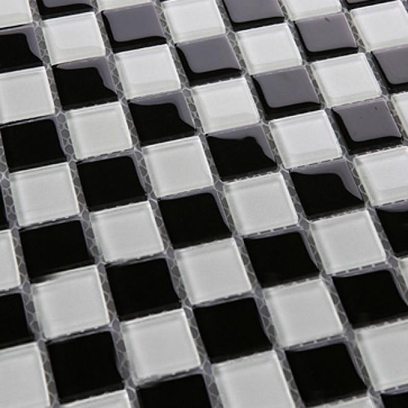 Black Glass Mosaic Tile Backsplash Bathroom Wall Tiles