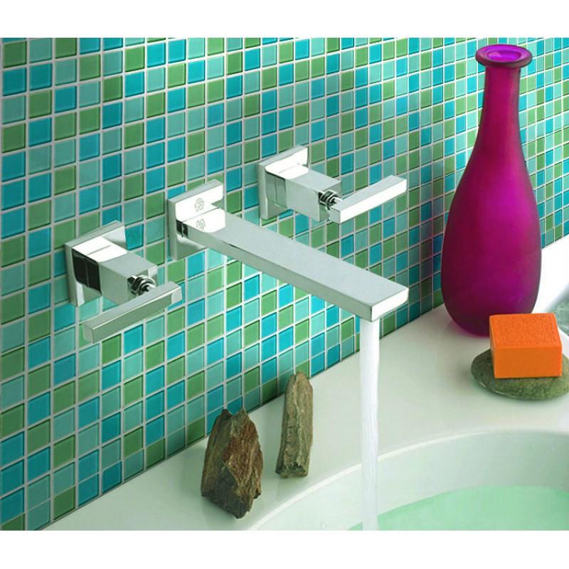 teal glass tile backsplash