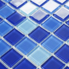 Blue glass tile backsplash for bathroom liner wall tiles 3312 Kitchen backsplashes Crystal glass mosaic tiles Swimming pool tile