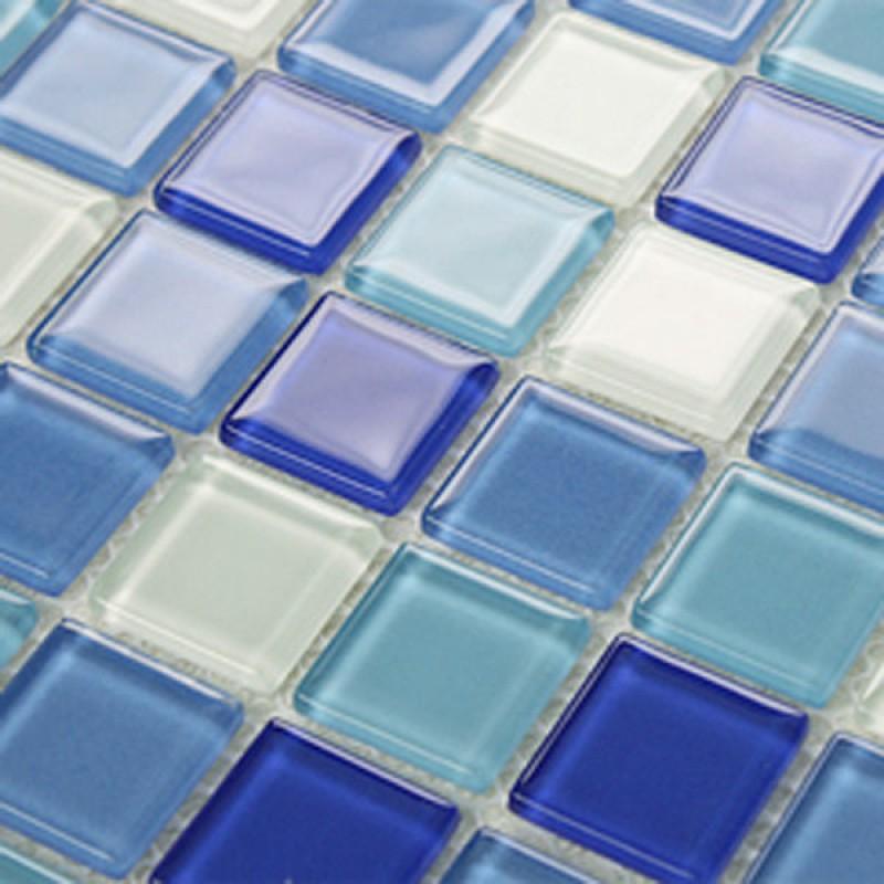 mosaic tile backsplash blue Crystal glass tile Kitchen