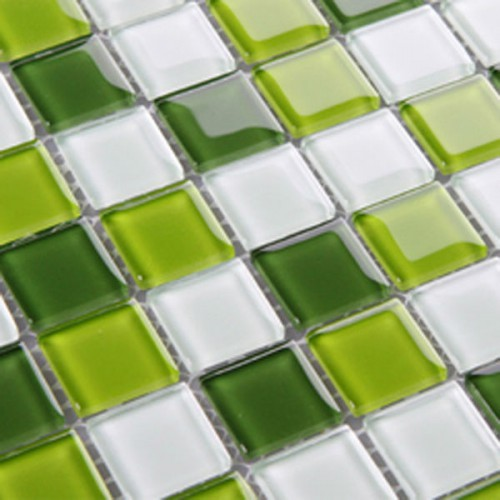 Glass Tile Backsplash Green Crystal Glass Mosaic Tiles 3324 Swimming