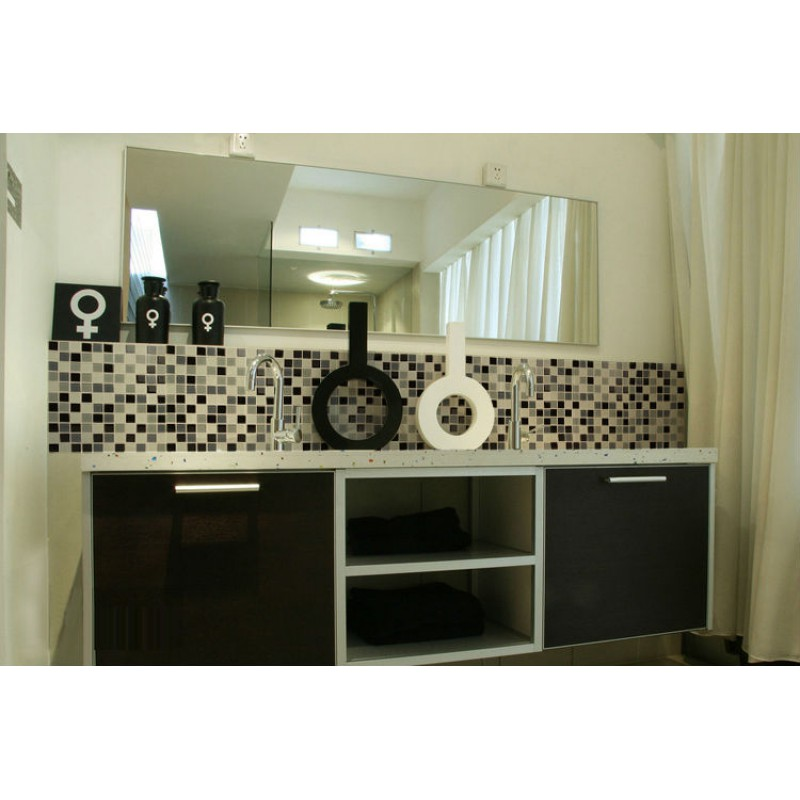 Glass Tile Bathroom Wall Tiles black & white Glass Mosaic Tiles ...