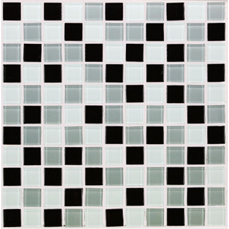 Crystal Glass Tile Bathroom Wall Tiles black & white Glass Mosaic ...