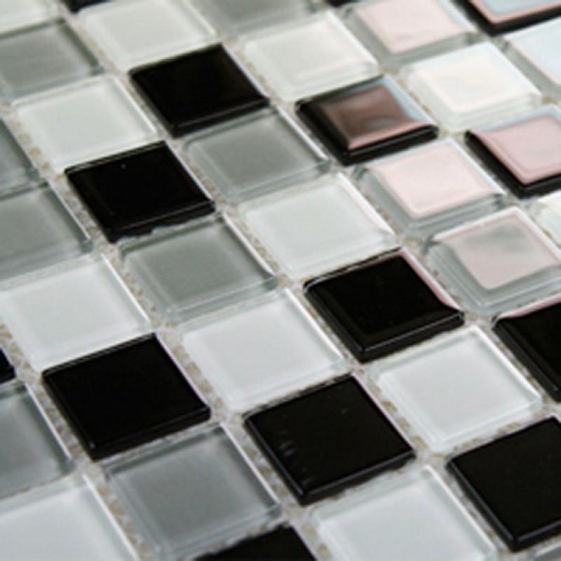 Glass Tile Bathroom Wall Tiles black & white Glass Mosaic Tiles ...