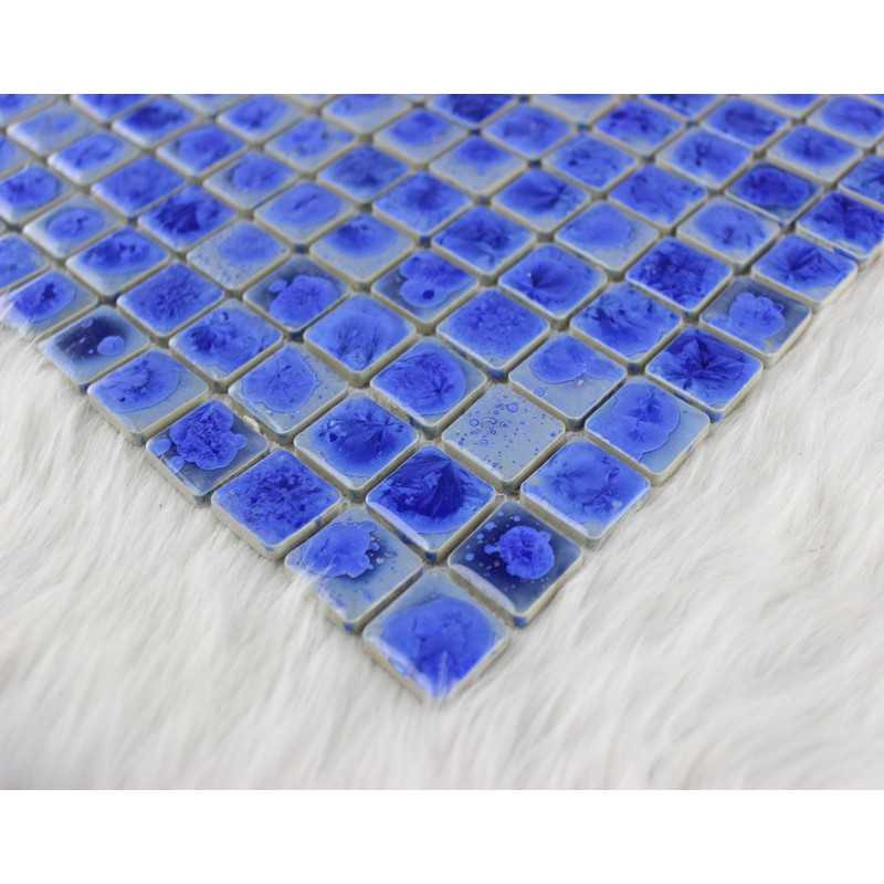 Blue porcelain mosaic tile glazed ceramic bathroom wall for Swimming pool wall tiles
