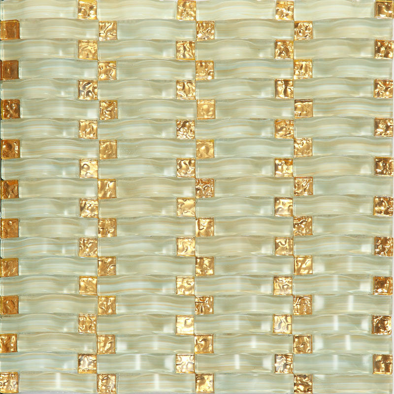 Weave Glass Mosaic Tiles Mirrored Wall Decoration Arched Crystal Tile Backsplash Hand Painted Design Square Small