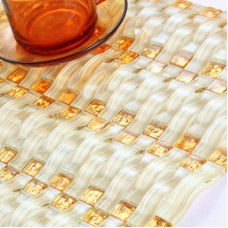Weave Glass Mosaic Tiles Mirrored Wall Decoration Arched Crystal Tile Backsplash Hand Painted Design Square Small Gold Tiling 368