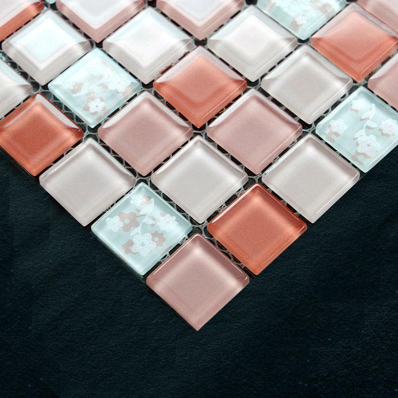 Pink Glass Mosaic Kitchen Wall Tile Backsplash 4005 Crystal Mosaic Tiles  Bathroom Floor Tiles Liner Wall Stickers ...