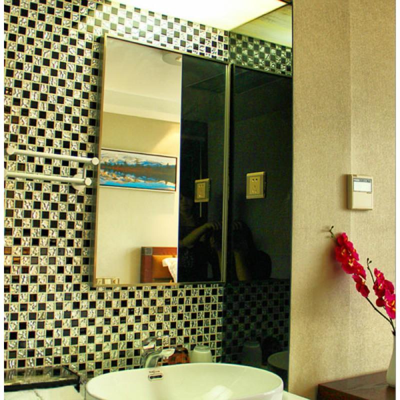 Black glass mosaic floor tile mirror tile backsplash 4013 - Mirror mosaic tile backsplash ...