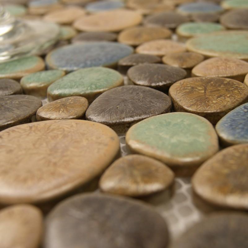 Porcelain Pebble Tile Backsplash Heart Shaped Ceramic Stickers Kitchen And Bathroom Mosaic Tiles 4789
