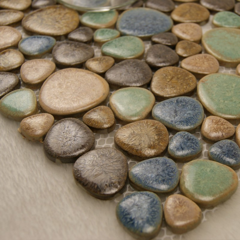 ... Porcelain Pebble Tile Backsplash Heart Shaped Ceramic Tile Stickers  Kitchen And Bathroom Mosaic Tiles 4789 ...