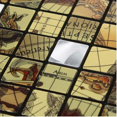 Metallic Mosaic Tile sheets aluminum Metal panel patterns Kitchen Backsplash Wall stickers Metal Mosaic Wall  art designs 6102