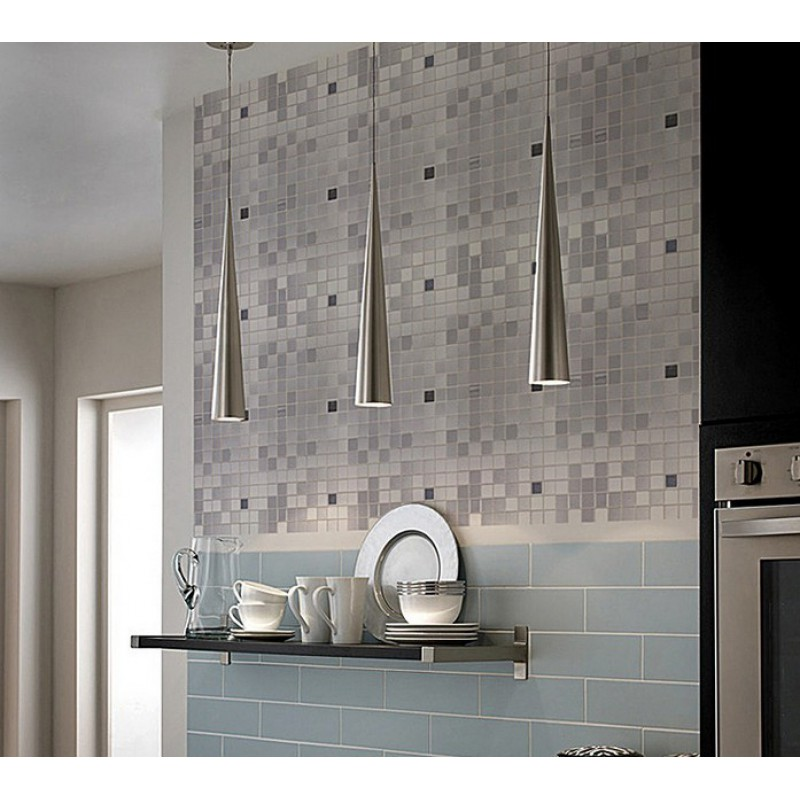 Metal Mosaic Tile Sheets Grey Metallic Kitchen Wall Tiles Kitchen Backsplash Stickers Adhesive
