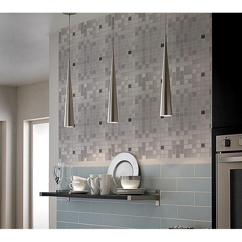 Metal Mosaic Tile Sheets Grey Metallic Kitchen Wall Tiles Backsplash Stickers Adhesive Stainless Steel 6105