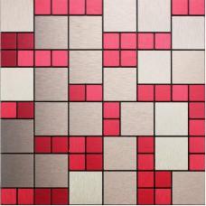 Metal Mosaic Tile sheets red magic Metallic Wall Tiles Kitchen Backsplash designs brushed Stainless Steel Mosaic Floor Tile 6106