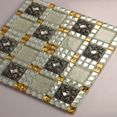Crystal Glass Tiles Sheet Diamond Mosaic Art Wall Stickers Kitchen Backsplash Tile Design Bathroom Shower Floor Mirror Decor 611