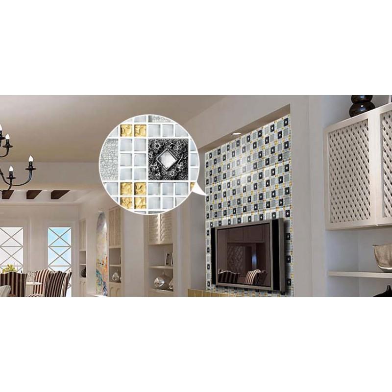 Crystal Glass Tiles Sheet Diamond Mosaic Art Wall Stickers Kitchen ...