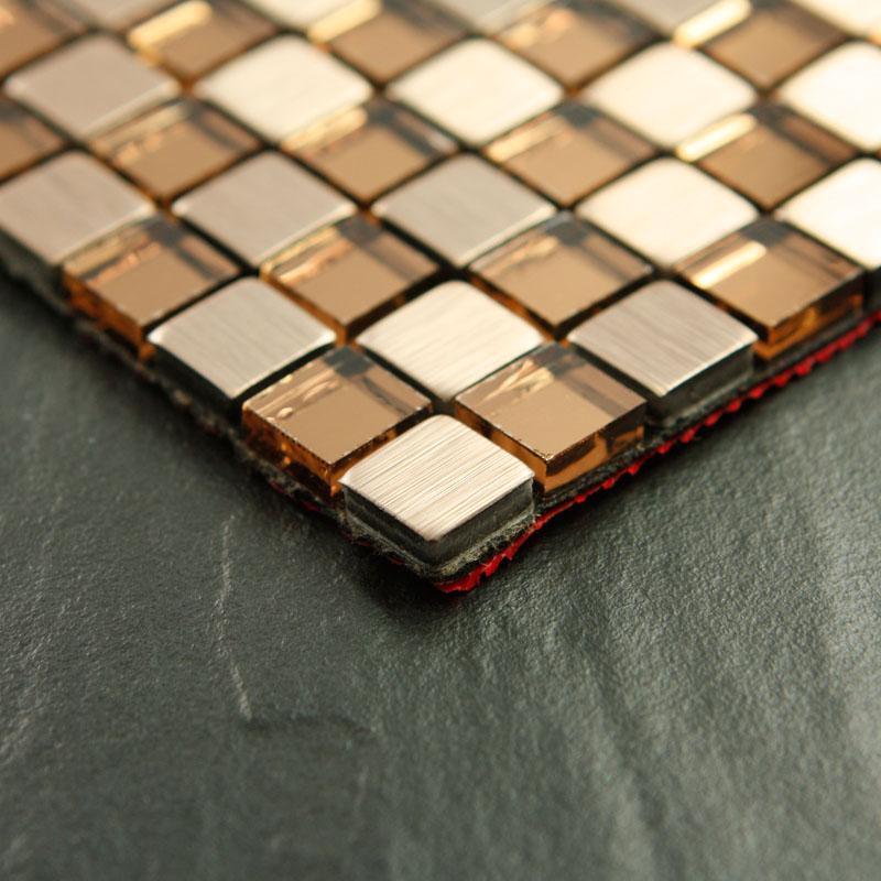 Glass Metal Mosaic Tile Gold Metallic Kitchen Wall Tiles Crystal Backsplash Adhesive Tiles Stainless Steel Mosaic Art 6117