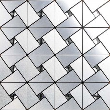 Silver alucobond tile sheets peel and stick wall tiles design bathroom metal glass diamond mosaic ACP kitchen backsplash decor MAT6127