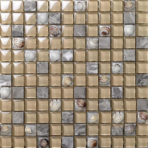 Grey and yellow wall decor mosaic sheet resin with conch patterns natural marble and glass backsplash interior stone floor design SGC615